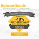 LIGHTONLINE : 10% de réduction supplémentaire sur tous les luminaires soldés