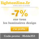 LIGHTONLINE : 7% de réduction sur tous les luminaires