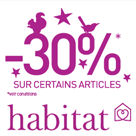 HABITAT : 30% de réduction sur une selection d'articles déco